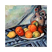 Paul Cezanne Fruit And A Jug On A Table Cropped Large Wall Art Poster Print Thick Paper 24X24 Inch ポールフルーツ壁ポスター印刷