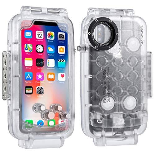 HAWEEL iPhoneX/XS用40m / 130ft スマホダイビングケース iPhoneXS用保護ケース 防塵 耐衝撃 耐久性 360度全方位保護 水中撮影用防水ケース スマートフォンダイビングハウジング 写真やビデオ水中撮影ケース 保護カバー (iPhone X 透明)