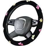 Butterfly Automotive Women Handmade Embroidery Cute 15 inch Car Steering Wheel Cover(Black)