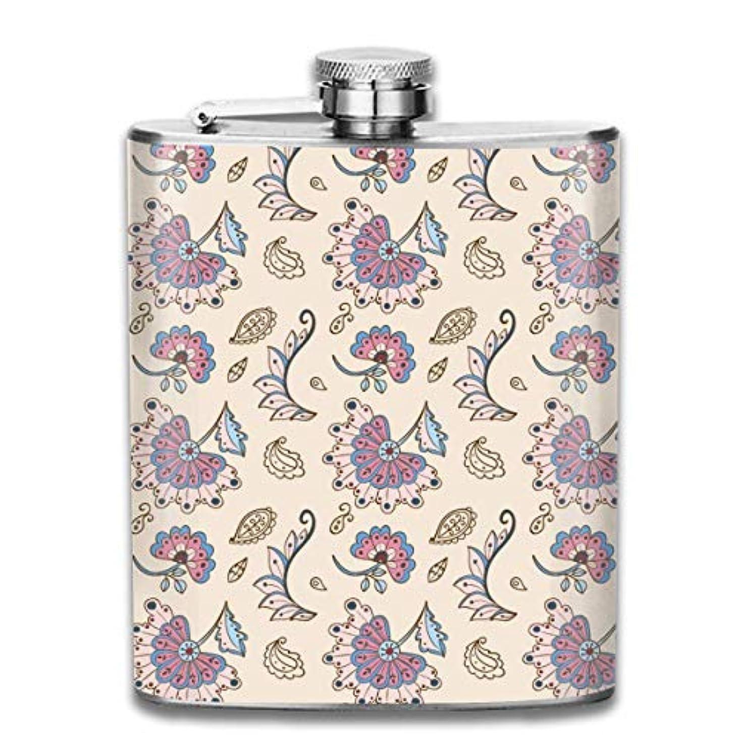 促進する離婚シャツ美しい葉と花フラスコ スキットル ヒップフラスコ 7オンス 206ml 高品質ステンレス製 ウイスキー アルコール 清酒 携帯 ボトル