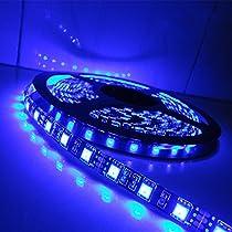 ALITOVE LEDテープ 防水5m 300連SMD5050 青 ブルーIP65 黒ベース 正面発光DC 12V
