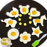 8点セット 目玉焼きリング お菓子作り (丸 ,星, 花, ハート, ミキマウス型,馬,チック,象) 卵モールド エッグマフィン ステンレス製 柄手付き (卵焼き型) 黄身 取り 器とシリコーンブラシ