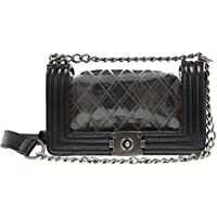 Vintage Clear Quilted Pu Leather Chain Strap Tote Shoulder Handbag for Women