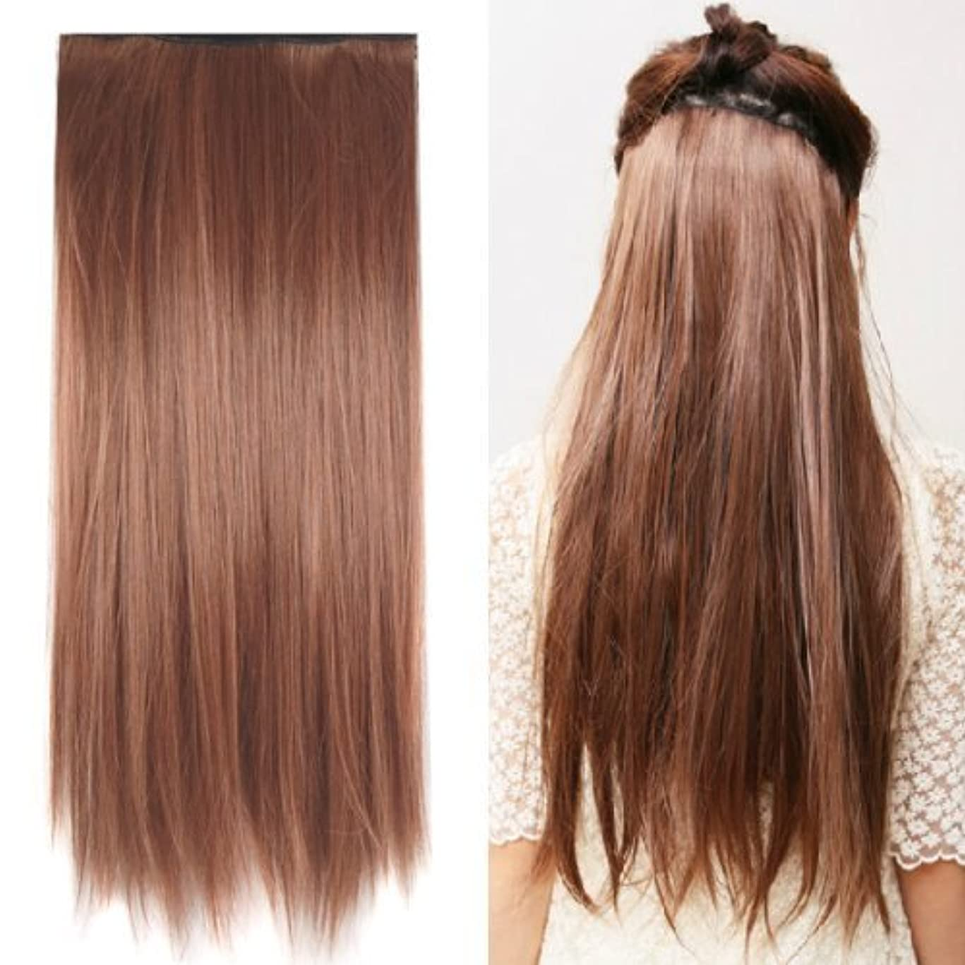汗ターゲット不測の事態SODIAL(R) Clip in on hair Straight Tail extensions New human heat resistant fibe - Blonde