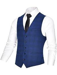 VOBOOM メンズ ベスト 5ツボタン ビジネス ツイード素材 ベスト Vネック 秋 冬 春 スーツ ベスト