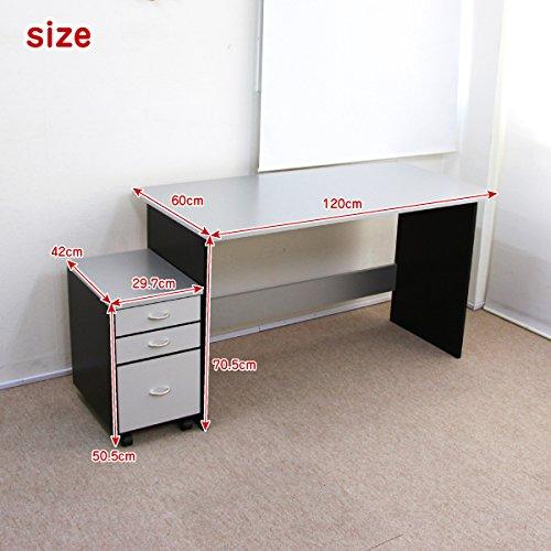 パソコンデスク 書斎机 120㎝幅パソコンデスクセット シルバー&ブラックJS110SBT