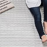 【シンプルボーダー柄で年代を問わない人気のラグ】 (145×185cm) スウェット生地 ラクラク掃除仕様 グレー色