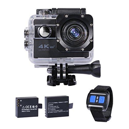 4k アクションカメラ wifi ウェアラブルカメラ 2.0インチ液晶 170度広角レンズ 30m防水 水中カメラ 2.4G無線リモコン付き ソニーセンサー搭載 アクションカム 予備1050mAhバッテリー付属 バイク/自転車/車などに取り付け可能 サイクリング スキー スノーボート ダイビング ハイキング