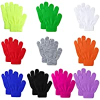 Hicdaw 10 Pairs Kids Gloves Knitted Winter Children Stretchy Winter Warm Full Fingers Gloves 6 to 12 Years Kid