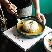YZUEYT 北欧の創造的な釉薬8インチラウンドパン世帯西洋料理サラダプレート深皿スープ皿 YZUEYT (Color : Green, Size : 20CM)
