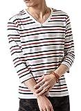 (アーケード) ARCADE メンズ 先染めボーダー Tシャツ 春 夏 Vネック 半袖 7分袖 カットソー L (七分袖)8-多色-ナローピッチボーダー