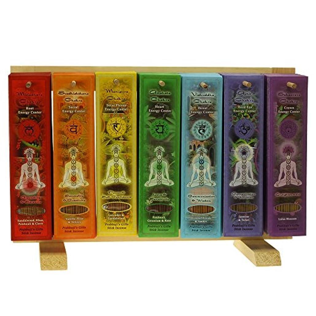 セッティング犠牲下線Indian Handicraftsエクスポート表示ラック – 7 Chakras Incense Sticks – 91パック