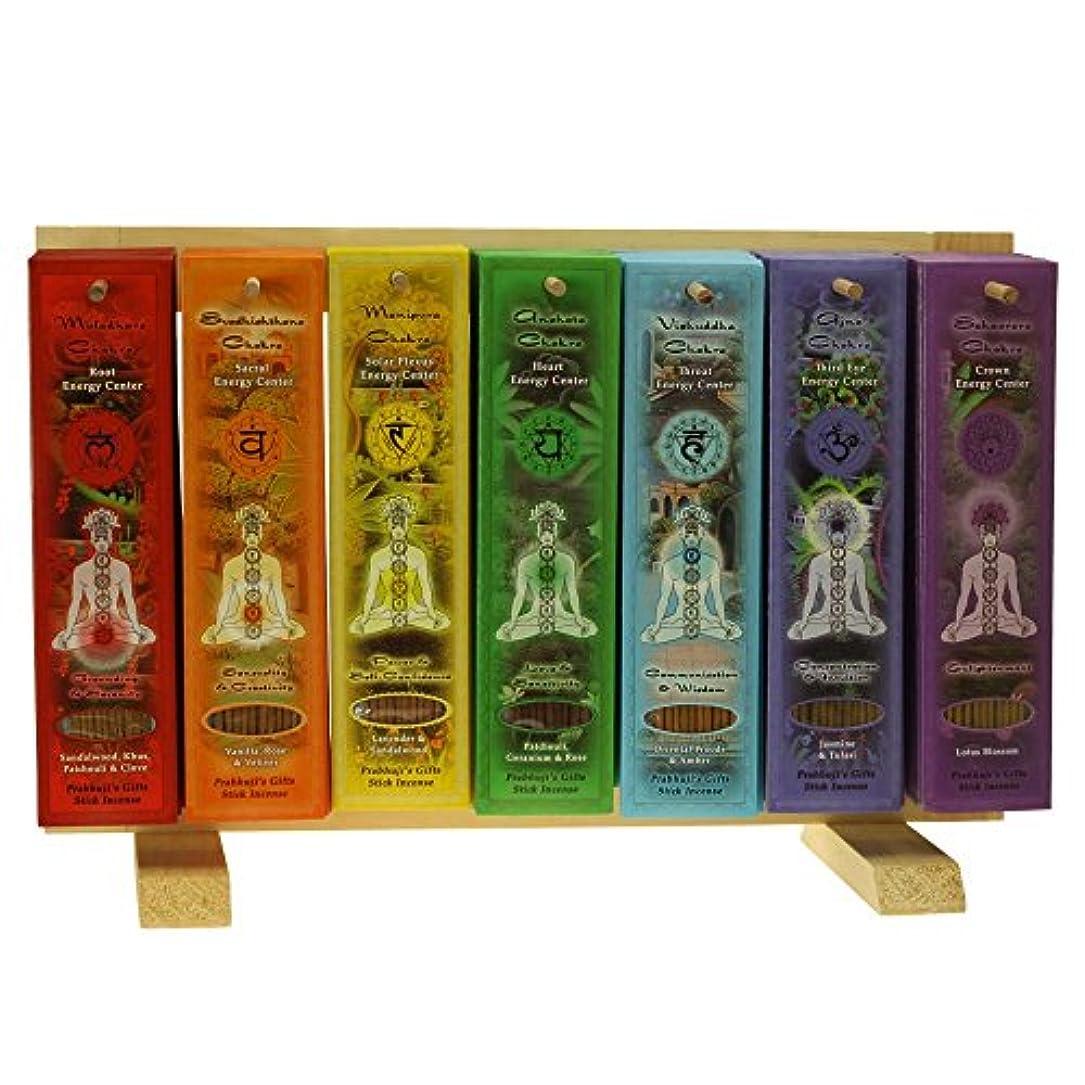段階貝殻スチュアート島Indian Handicraftsエクスポート表示ラック – 7 Chakras Incense Sticks – 91パック