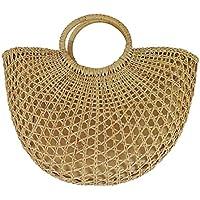 ビーチバッグ 手織りバッグ 竹バスケット ビーチハンドバッグ ストローバッグ 円型竹バッグ ラタンビーチバッグ 自然藤製 おしゃれ