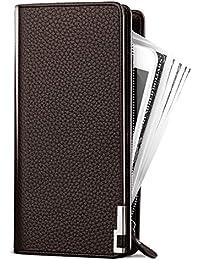 Seaoeeyメンズウォレットロングマルチカードホルダーハンドバッグビジネスジッパー多機能携帯電話バッグ財布