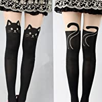 USport 1 Pair Cute Kitten Print Cat Tail Tattoo Tights Pantyhose Stockings for Girls (Black)