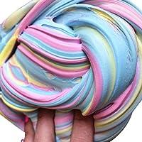 知育玩具 おかしいキッズふわふわのフロムスライムいいえホウ砂のモデリングクレイポータブルストレスリリーフスラッジ玩具ユニバーサル子供のおもちゃ ピンク&イエロー&ブルー