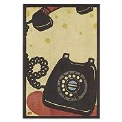 和道楽切り絵イラストポストカードなつかし黒電話(1枚)