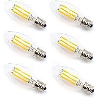 シャンデリア電球 60W形相当 E17口金 LED クリア電球 6W フィラメント LED電球 蝋燭型 電球色 2700k 700lm C35 クリアタイプ シャンデリア形 (E17 6個入)