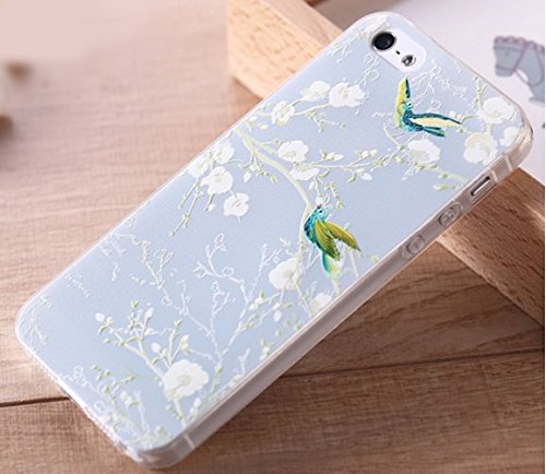 Shop XJ 携帯 スマホ カバー iphone 6plus ケース 3D 立体 加工 カバー (花鳥風月)