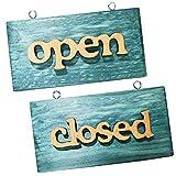 オープン クローズ 看板 ドアプレート 木製 OPEN CLOSE 2枚セット レトロ かんばん サイン (グリーン 2枚)