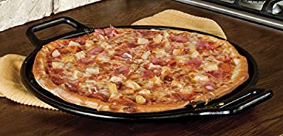 Lodge P14P3 14 Inch Round Cast Iron Pizza Pan with Loop Handles, Black