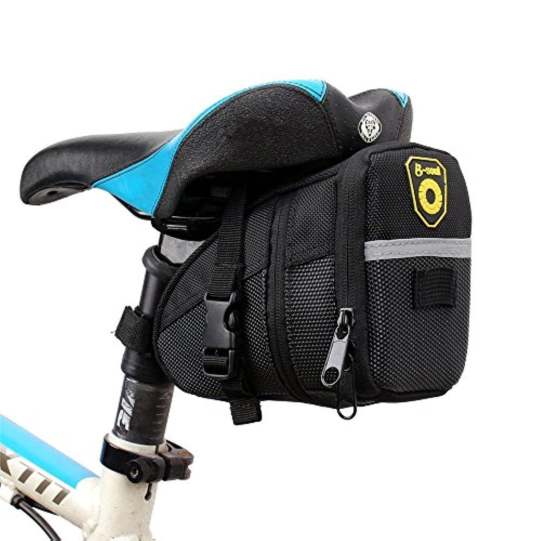 メンタル初心者フライト自転車シートパックバッグ 自転車とマウンテンバイクに乗るPUサドルバッグ防水自転車バッグリアシートバッグ、反射縞模様のポケットバッグ(ブラック) 自転車サドルバッグ