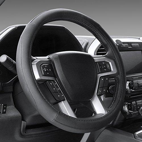 SEG Direct ブラック マイクロファイバー革ハンドルカバー 外径約39.5cmから40.5cmまでのレンジローバー用