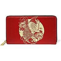 財布 レディース 長財布 大容量 かわいい 新年 魚柄 絵柄 鯉柄 可愛い 中華風 赤 ファスナー財布 ウォレット 薄型 本革 型押し 小銭入れ プレゼント用