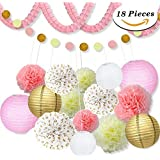 18 Pcs Pink and Gold Party Decorations, Pom Poms Flowers Kit + Polka Dot Garland +Tissue Paper lantern for 1st birthday girl decorations Kids Birthday Bridal Shower Baby Shower wedding by Sopeace [並行輸入品]