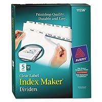 インデックスメーカークリアラベルPunched仕切り、5-tab、手紙、ホワイト、50セット、50セットとして販売