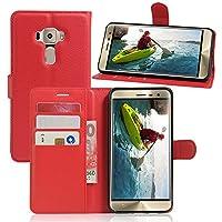 AIYOPEEN 5.2 インチ Zenfone 3 ZE520KL 専用 PU レザー ケース 手帳型 カバー カード収納 ケース(赤)