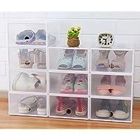シューズケース/クリアボックス/組み立て式6個セット【選べる3色】 (ホワイト6個)