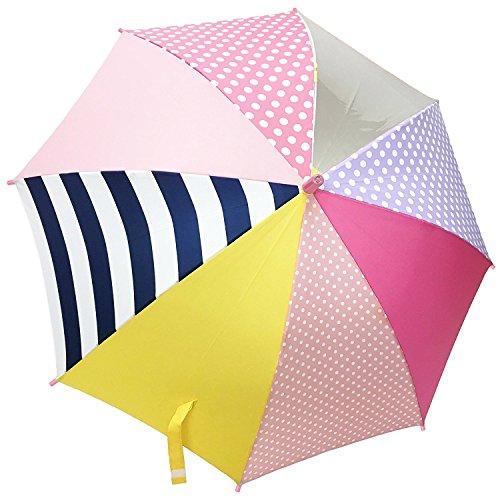 キッズ・ジュニア カラフル ポップ 安全窓付 1駒透明 グラスファイバー仕様 ジャンプ傘 55cm ピンク