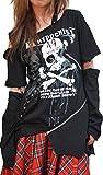 Hippies (ヒッピーズ) Tシャツ チュニック アシメ V系 スカル パンク バイカラー 55-6117 (BLACK)