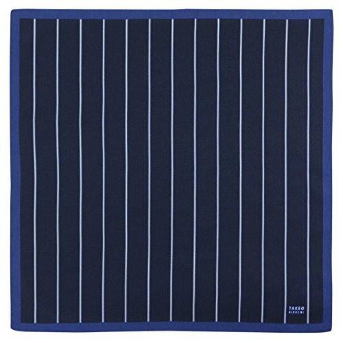 [タケオキクチ] ハンカチ ストライプ&ミニへリンボン柄 綿100% ブルー