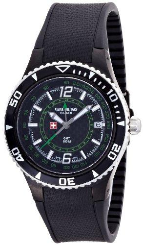 quartz(クォーツ) GMT カーボンブラック×グリーン 1606.1874 メンズ スイスミリタリー バイ グロバナ