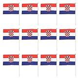 【ノーブランド 品】12枚 14×21cm 国旗 手振り旗 クロアチア国旗  国家バナー