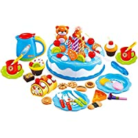 (80pcs Set, Blue) - MAGIKON Plastic Pretend Play Cutting Food Birthday Cake Toy Set (Blue, 80pcs Set)