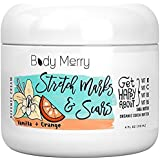 Stretch Mark and Scar Cream - Vanilla Orange - Best Body Moisturiser to Prevent and Reduce Old and New Marks & Scars - Natural & Organic for Pregnancy- Also for Men- 120ml - By Body Merry