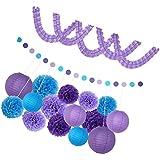 Perfk ガーランド 紙製ボンボン ペーパーフラワー カラフル 誕生日  結婚式 装飾 パーティー  ホテル 装飾 4タイプ選べる - 紫