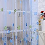Ochine 新品 カーテン オーガンジー生地 五芒星プリント お部屋 間仕切り 装飾 癒し ロングカーテン 直径4cm以内の突っ張り棒適応 幅95×丈200cm 一枚入り