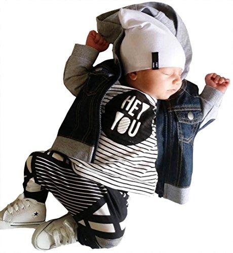 男の子の服 子供服 ファッション ストライプ 長袖シャツ ズボン 2本セット新生児衣類セット (100, 黒)
