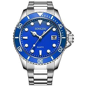 SONGDU メンズ 腕時計 アナログ ブルー文字盤 シルバーステンレスバンド 日付表示 夜光 ビジネス クォーツウォッチ [並行輸入品]