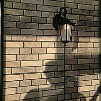 レトロな六角防水屋外壁ライト壁取り付け用燭台ヨーロッパの庭の門壁掛け装飾壁ランプ器具ガラスシェード付き中庭ホール夜の安全照明(カラー:ブラック)