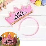 HuaQingPiJu-JP プリンスクラウンケーキLEDグローフープドレス帽子誕生日パーティー用品(ピンク、ハッピーバースデー)