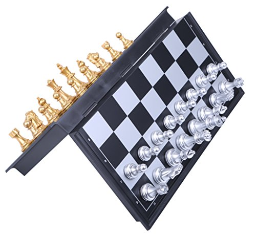 Bolso マグネット チェス セット 折りたたみ ボードゲーム (ゴールド×シルバー)