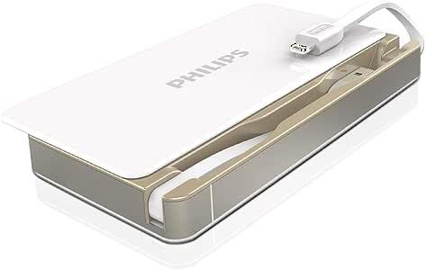 PHILIPS モバイルバッテリー 2ケーブル内蔵 6000mAh ライトニング USB Apple MFi認証取得 iPhone iPad iPod各種対応 DLP6066 ホワイト