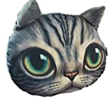 【SCGEHA】リアルプリント 猫 ねこ ネコ 顔 カー 車 マイカー ネックパッド ネックレスト ヘッドレスト クッション 動物 アニマル フォト 愛車にインパクト大!(グレー/グリーン)