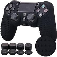 PS4 コントローラー用 ちりばめ シリコン スキン ケース 保護カバー x 1 (ブラック) 耐衝撃 高品質 + FPS PRO ティック カバー x 8